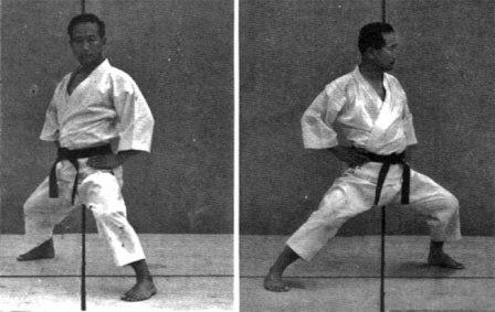 Master Nakayama from 'Dynamic Karate' (1966) demonstrates Fudo dachi / Sochin dachi.